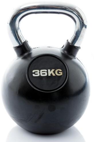 Muscle Power Rubberen Kettlebell - Zwart - 36 kg