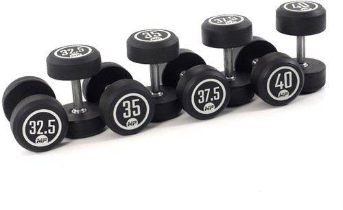 Muscle Power Ronde Rubber Dumbbell Set - 8 x 32,5-40 kg