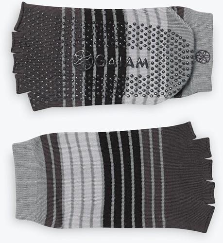 Gaiam Grippy Toeless Yoga Socks - Anti-slip Yogasokken - Grey / Black