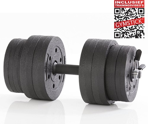 Gymstick Active Verstelbare Dumbbell Set - Vinyl - 15kg - Met Online Trainingsvideo's