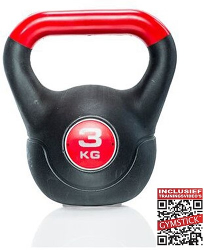 Gymstick Vinyl Kettlebell 3 kg met trainingsvideo's
