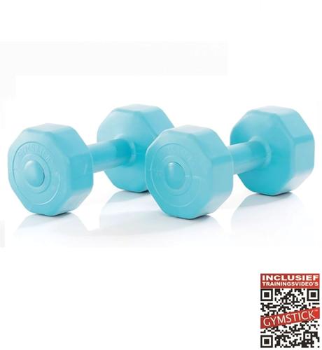 Gymstick Active Vinyl Dumbbells - Met Online Trainingsvideo's - 2 x 3 kg