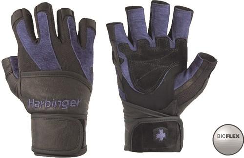 Harbinger Men's BioFlex Fitness Handschoenen met Wrist Wrap - Zwart/Blauw