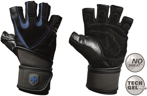 Harbinger Men's Training Grip Fitness Handschoenen met Wrist Wrap - Zwart/Blauw