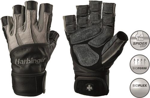 Harbinger Men's Bioform Fitness Handschoenen met Wrist Wrap - Grijs/Zwart