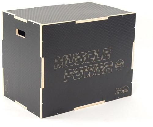 Muscle Power Houten Plyo Box met Anti-slip - Zwart