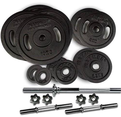 Hammer Gietijzeren Halterschijven en Halterstangen Set - 73 kg
