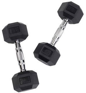 Body-Solid Hexagon Dumbbell - Rubber - 5 kg - Per Paar
