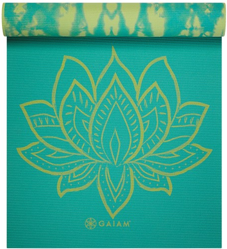 Gaiam Reversible Yoga Mat - 6 mm - Turquoise Lotus