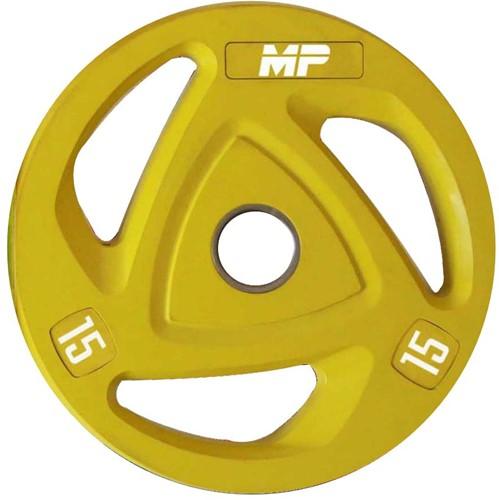 Muscle Power Rubberen Halterschijf - Geel - 15 kg (50 mm)