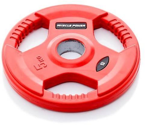 Muscle Power Rubberen Halterschijf - Rood - 50 mm - 5 kg