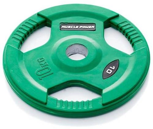 Muscle Power Rubberen Halterschijf - Groen - 50 mm - 10 kg
