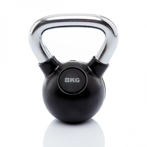 Muscle Power Rubberen Kettlebell - Zwart - 8 kg