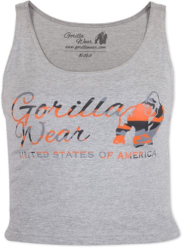 Gorilla Wear Oakland Crop Tank Grijs/Neon Oranje Camo