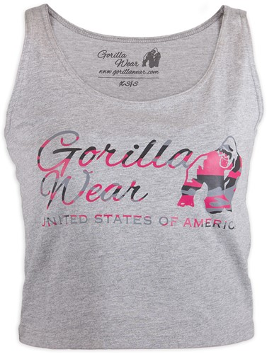 Gorilla Wear Oakland Crop Tank Gray/Pink Camo