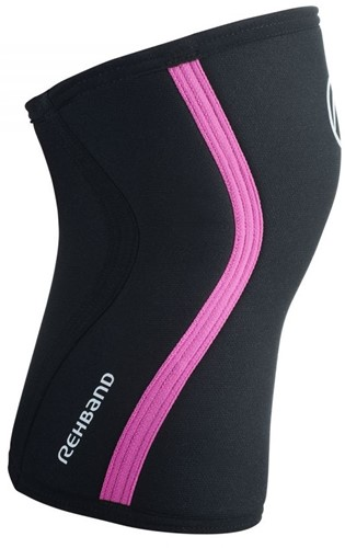 Rehband Kniebrace RX 7MM Black/Pink Stripes-2