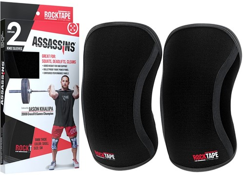 RockTape Assassins Knee Sleeves - Kniebraces - Zwart - 7 mm
