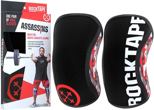 RockTape Assassins Knee Sleeves - Kniebraces - Rood Camo - 7 mm
