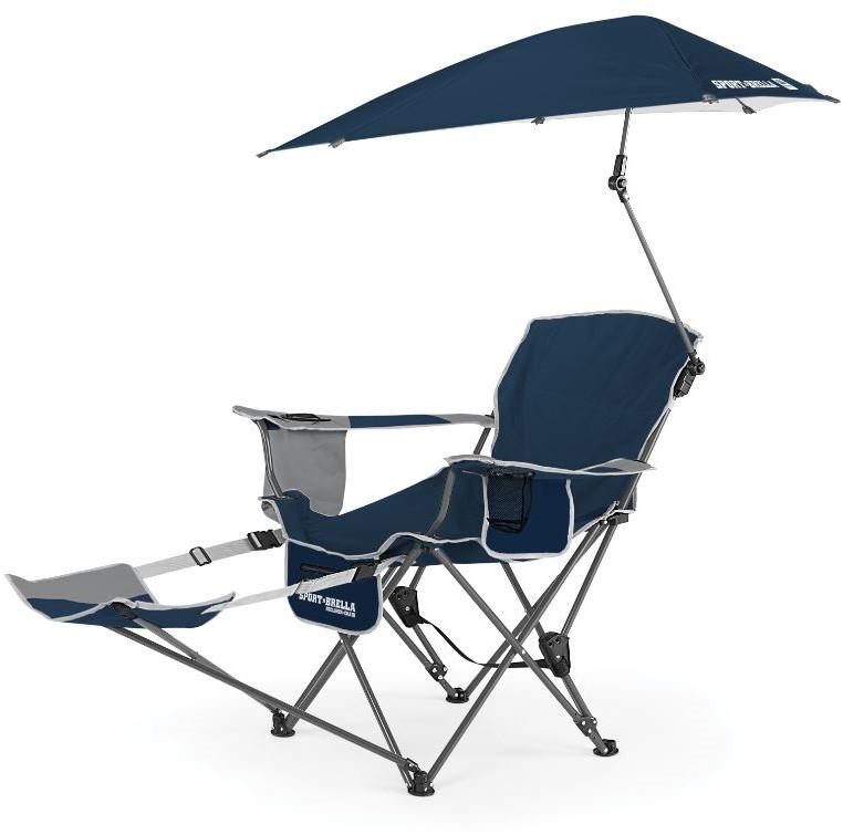 Strandstoel En Parasol.Sport Brella Verstelbare Campingstoel Strandstoel Met Parasol Blauw