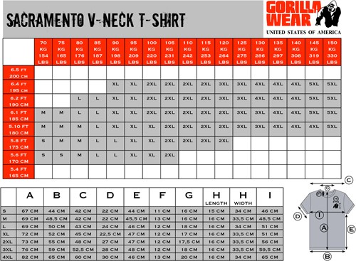 Gorilla Wear Sacramento V-Neck T-Shirt - Black/Neon Orange-3