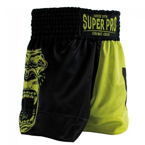 Super Pro Gorilla Kids (Thai) Boxing Shorts - Zwart/Geel