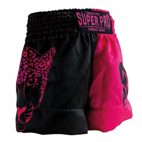 Super Pro Leopard Kids (Thai) Boxing Shorts - Zwart/Roze