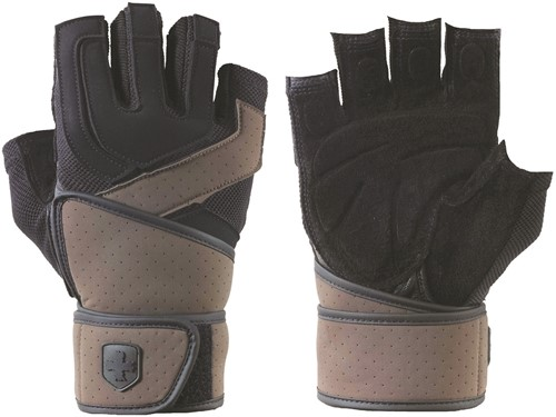 Harbinger Training Grip WristWrap 2 Fitness Handschoenen - Black/Brown - S