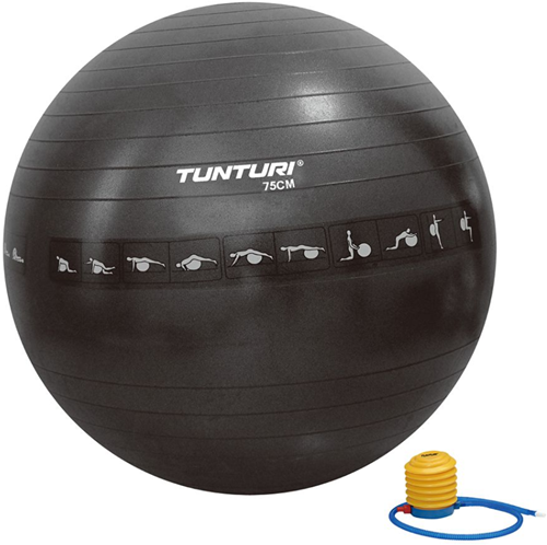 Tunturi Anti-Burst Fitnessbal Gymbal Zwart - 75cm