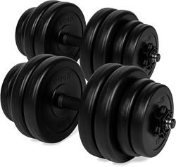fitnessapparaat.nl-VirtuFit Verstelbare Dumbbellset - Halterset - Vinyl - Zwart - 2 x 15 kg (30 kg)-aanbieding