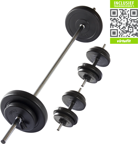 VirtuFit Verstelbare Halterset - Dumbbellset - 30,5 kg - Zwart - Gratis Trainingsvideo's