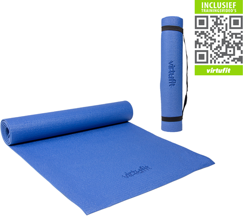 VirtuFit Yogamat Met Draagkoord - 183 x 61 x 0.3 cm - Blauw - Gratis Trainingsvideo's