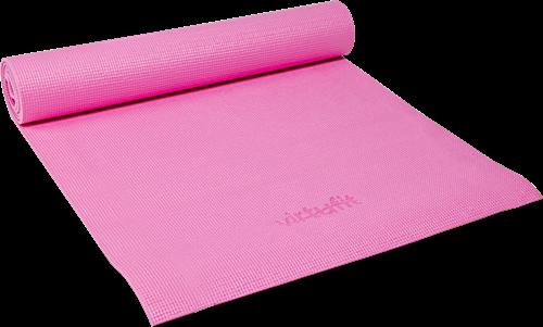 Virtufit Yogamat met draagkoord Roze liggend