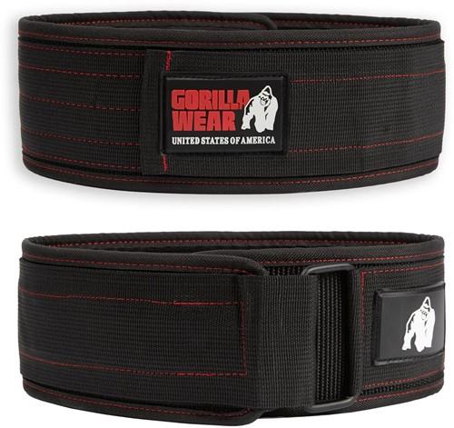 Gorilla Wear 4 Inch Nylon Lifting Belt - Zwart / Rood
